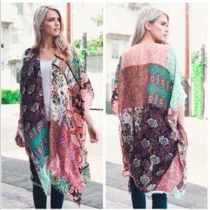 Accessories - Mint Boho Floral Patchwork Kimono